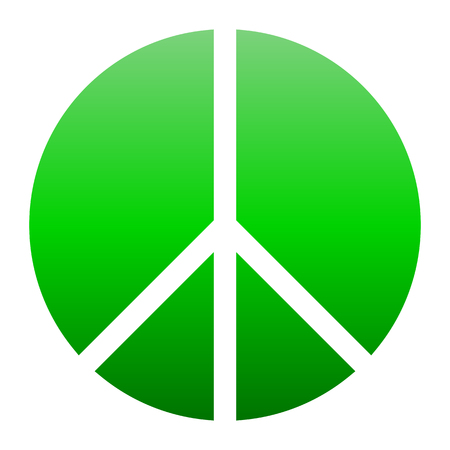 Peace symbol icon - green simple gradient, segmented shapes, isolated - vector illustration