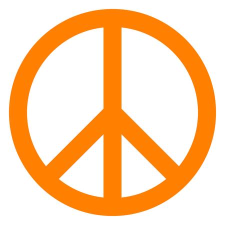 Peace symbol icon - orange simple, isolated - vector illustration Illustration