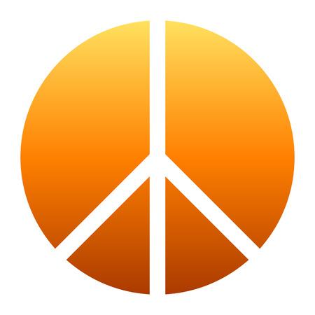 Peace symbol icon - orange simple gradient, segmented shapes, isolated - vector illustration