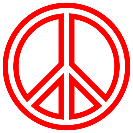 Peace symbol icon - red simple outlined, isolated - vector illustration Vetores