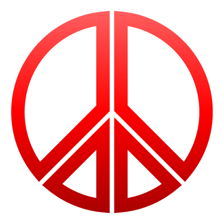 Peace symbol icon - red simple gradient, segmented outlined shapes, isolated - vector illustration