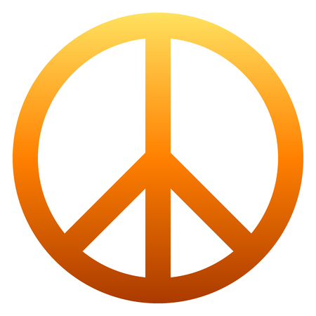 Peace symbol icon - orange simple gradient, isolated - vector illustration