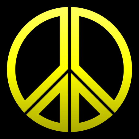 Peace symbol icon - yellow simple gradient, segmented outlined shapes, isolated - vector illustration Vetores
