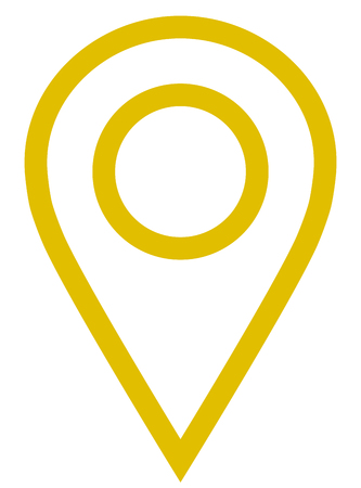 Pin point - golden simple outlined, isolated - vector illustration