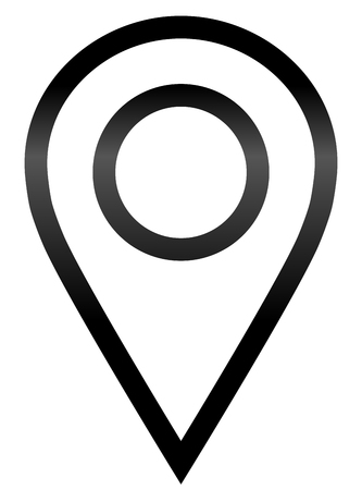 Pin point - black gradient outlined, isolated - vector illustration
