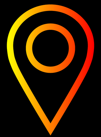 Pin point - yellow orange red gradient, warm light, outlined, isolated - vector illustration Vektorové ilustrace