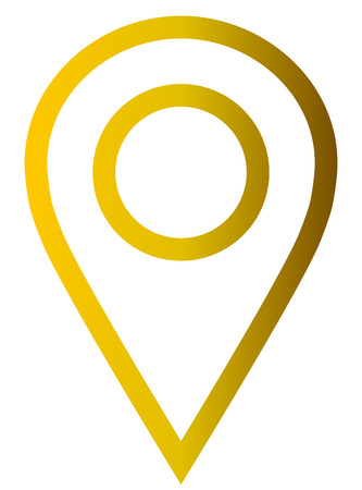 Pin point - golden gradient outlined, isolated - vector illustration