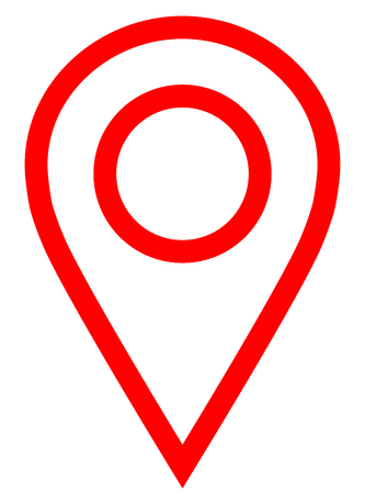 Pin point - red simple outlined, isolated - vector illustration