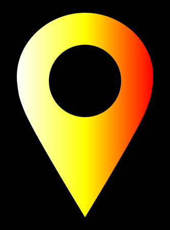 Pin point - white yellow orange red gradient, warm light, hollow, isolated - vector illustration