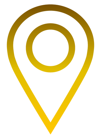 Pin point - golden gradient outlined, isolated - vector illustration Vektorové ilustrace