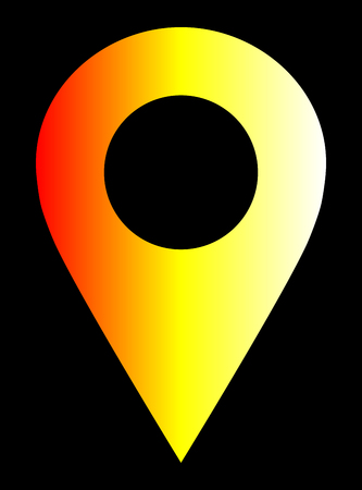 Pin point - white yellow orange red gradient, warm light, hollow, isolated - vector illustration Vettoriali
