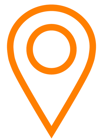 Pin point - orange simple outlined, isolated - vector illustration