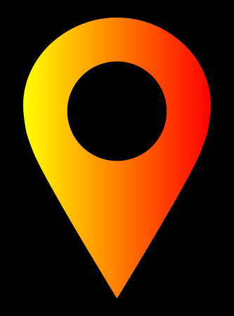 Pin point - yellow orange red gradient, warm light, hollow, isolated - vector illustration