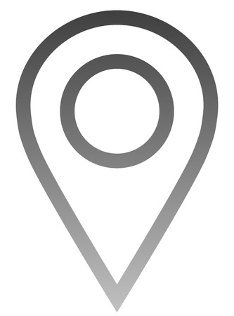 Pin point - medium gray gradient outlined, isolated - vector illustration