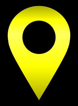 Pin point - yellow gradient hollow, isolated - vector illustration Vektorové ilustrace