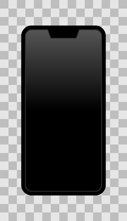 Smartphone icon - black  with turned off black gradient screen with notch, bezel-less, isolated - vector illustration