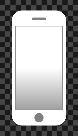Smartphone icon - white with turned on white gradient screen, isolated - vector illustration