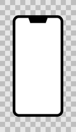 Smartphone icon - black  with turned on white screen with notch, bezel-less, isolated - vector illustration