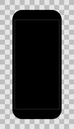 Smartphone icon - black with turned off black screen, isolated - vector illustration