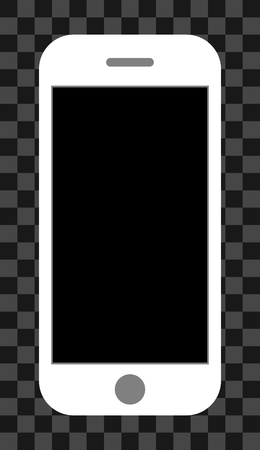 Smartphone icon - white with turned off black screen, isolated - vector illustration Иллюстрация