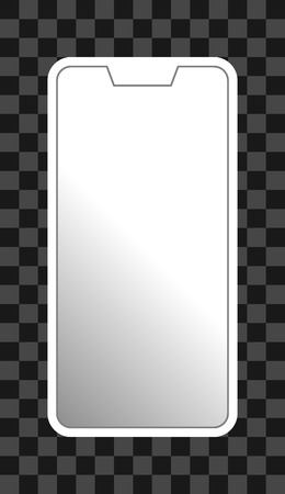 Smartphone icon - white  with turned on white gradient screen with notch, bezel-less, isolated - vector illustration Ilustração