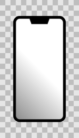 Smartphone icon - black  with turned on white gradient screen with notch, bezel-less, isolated - vector illustration