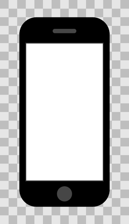 Smartphone icon - black with turned on white screen, isolated - vector illustration