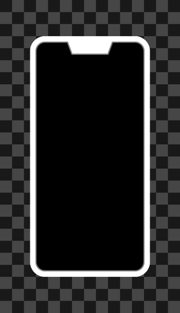 Smartphone icon - white  with turned off black screen with notch, bezel-less, isolated - vector illustration Ilustração