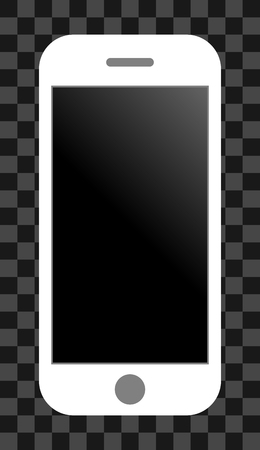 Smartphone icon - white with turned off black gradient screen, isolated - vector illustration