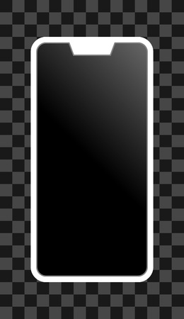 Smartphone icon - white  with turned off black gradient screen with notch, bezel-less, isolated - vector illustration