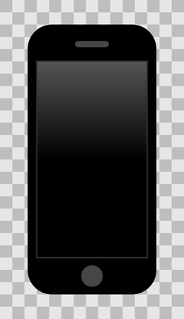 Smartphone icon - black with turned off black gradient screen, isolated - vector illustration