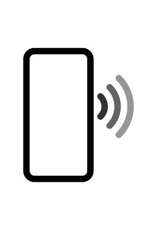 Smartphone mit Wellensymbol - schwarz grau einfach flach - Vector Illustration