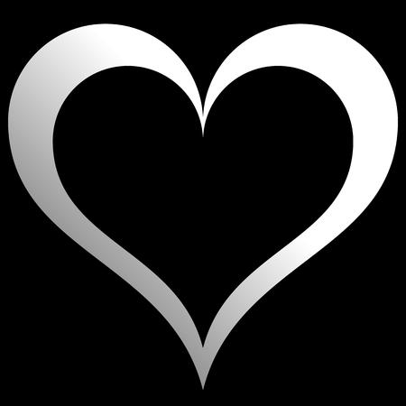 Herzsymbol - weißer Farbverlauf, isoliert - Vektorillustration