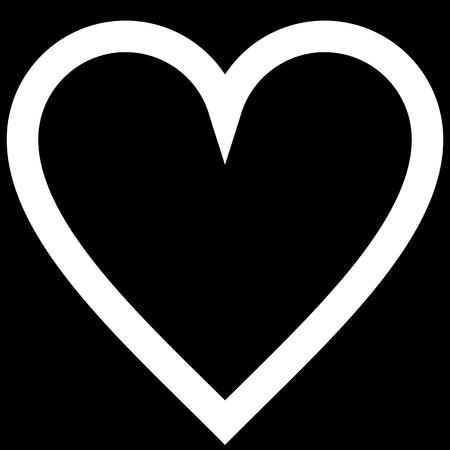 Herzsymbol - weiß einfach umrissen, isoliert - Vektorillustration -