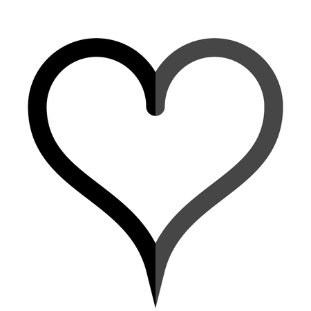 Heart symbol icon - black simple outlined, isolated - vector illustration