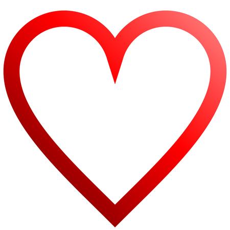 Herzsymbol - rot umrissener Farbverlauf, isoliert - Vektorillustration