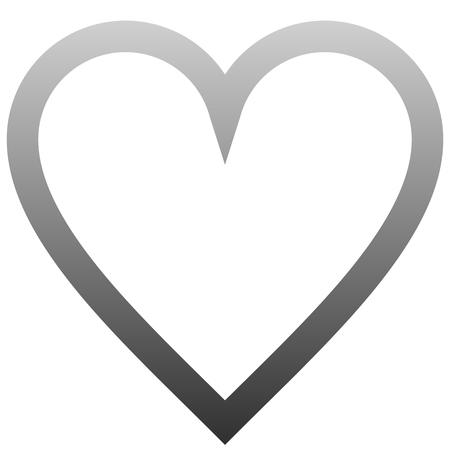 Herzsymbol-Symbol - mittlerer grauer Farbverlauf, isoliert - Vektorillustration