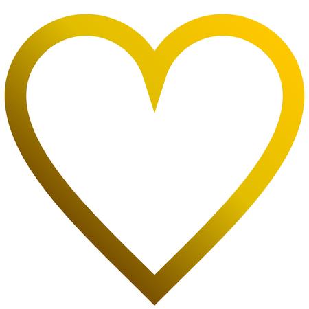 Herzsymbol-Symbol - goldener umrissener Farbverlauf, isoliert - Vektorillustration Vektorgrafik