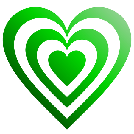 Heart target symbol icon - green gradient, isolated - vector illustration