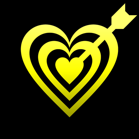 Heart target with arrow symbol icon - yellow gradient, isolated - vector illustration
