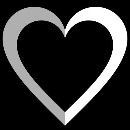 Herzsymbol - weiß einfach umrissen, isoliert - Vektorillustration - Vektorgrafik
