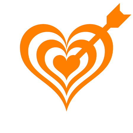 Heart target with arrow symbol icon - orange simple, isolated - vector illustration Çizim