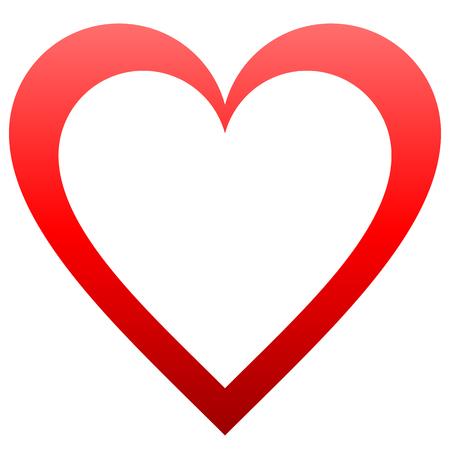 Herzsymbol - rot umrissener Farbverlauf, isoliert - Vektorillustration Vektorgrafik