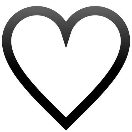 Heart symbol icon - black outlined gradient, isolated - vector illustration