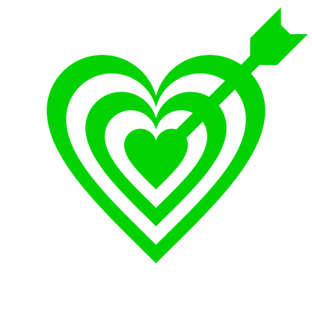 Heart target with arrow symbol icon - green simple, isolated - vector illustration