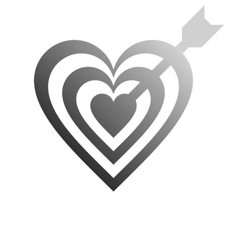 Heart target with arrow symbol icon - medium gray gradient, isolated - vector illustration