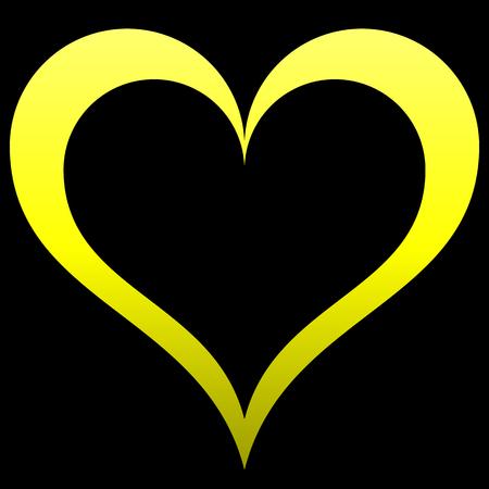 Herzsymbol - gelb umrandete Steigung, isoliert - Vektorillustration Vektorgrafik