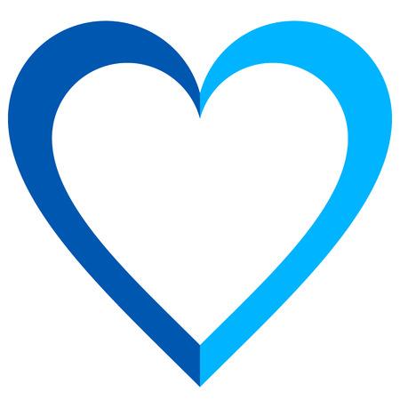 Herzsymbol - blau einfach umrissen, isoliert - Vektorillustration -