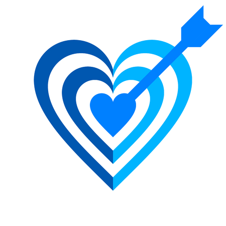Heart target with arrow symbol icon - blue simple, isolated - vector illustration