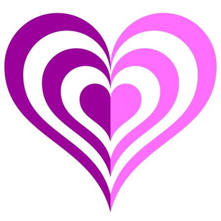 Heart target symbol icon - purple simple, isolated - vector illustration